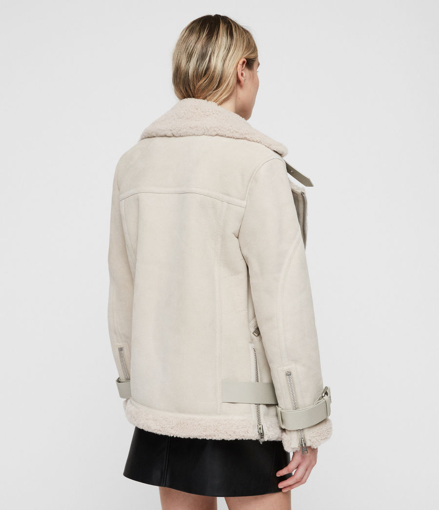 Women's Hawley Oversized Shearling Biker Jacket (aries_white) - Image 7