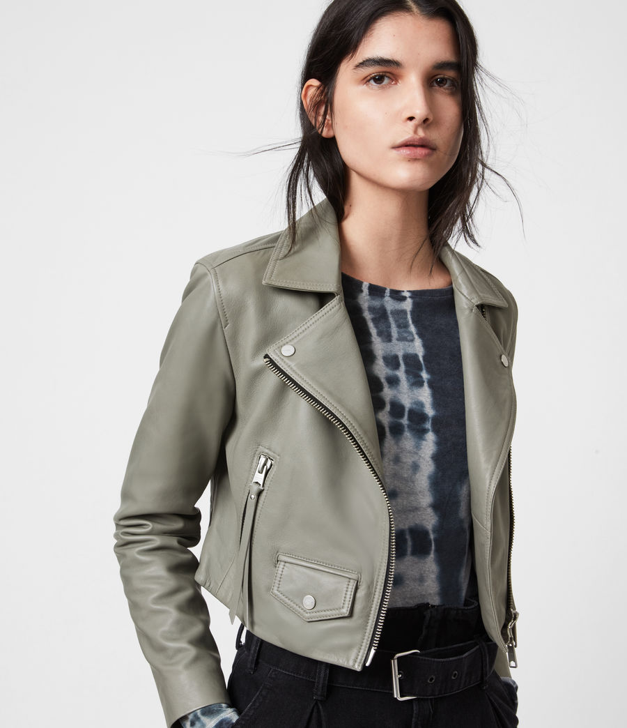 Women's Elora Leather Biker Jacket (sage_green) - Image 1