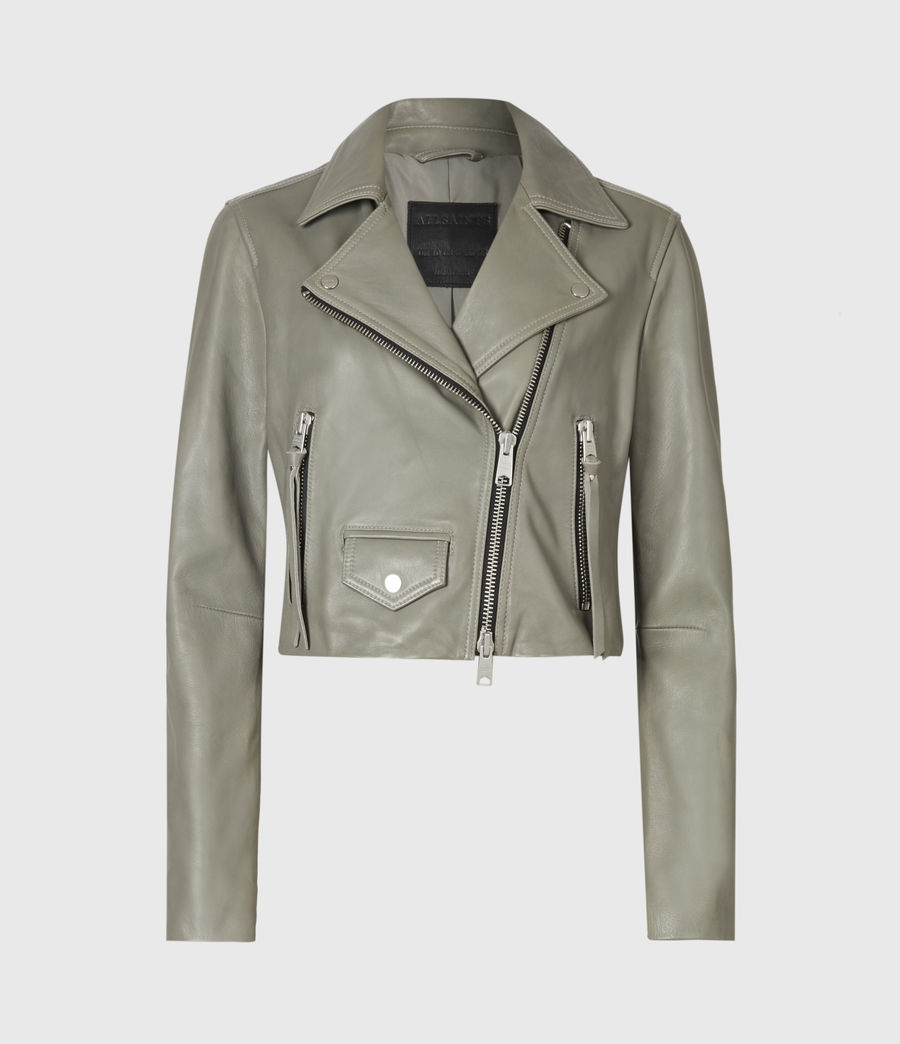 Women's Elora Leather Biker Jacket (sage_green) - Image 2