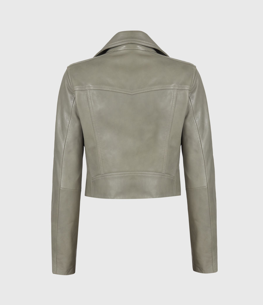 Women's Elora Leather Biker Jacket (sage_green) - Image 3