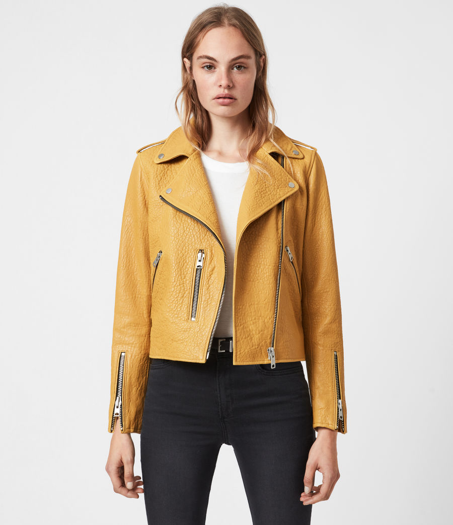 Women's Fern Bubble Leather Biker Jacket (gilded_beige) - Image 1