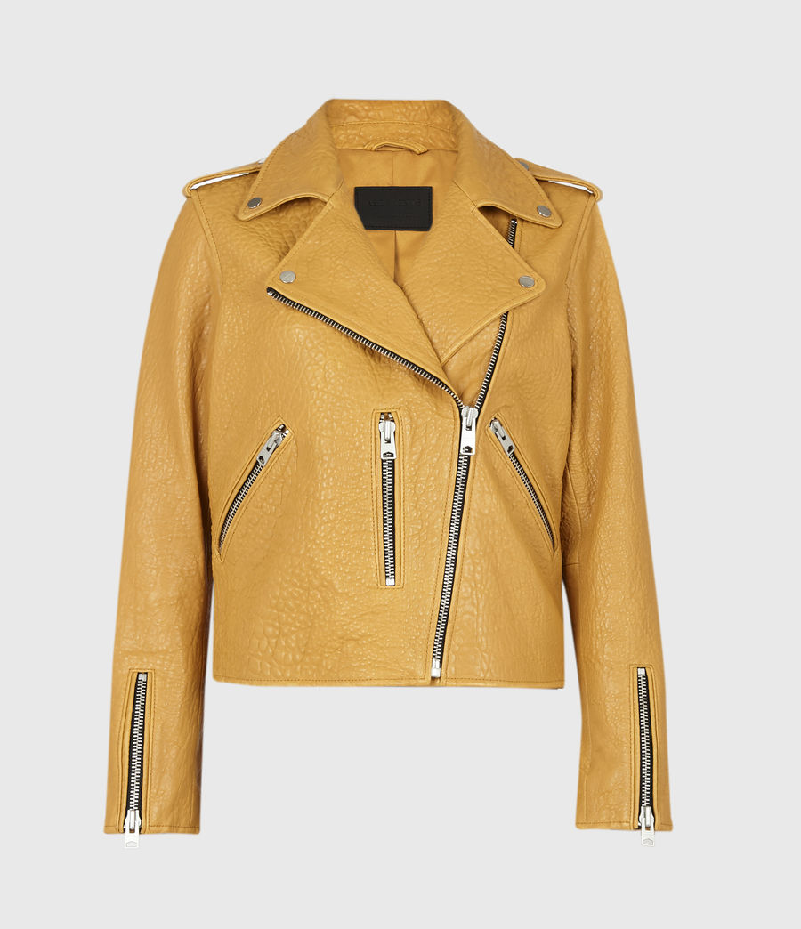 Women's Fern Bubble Leather Biker Jacket (gilded_beige) - Image 2