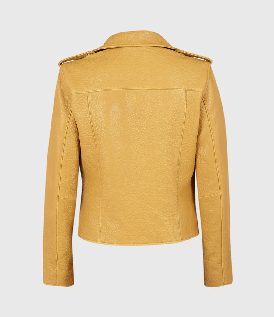 Women's Fern Bubble Leather Biker Jacket (gilded_beige) - Image 3