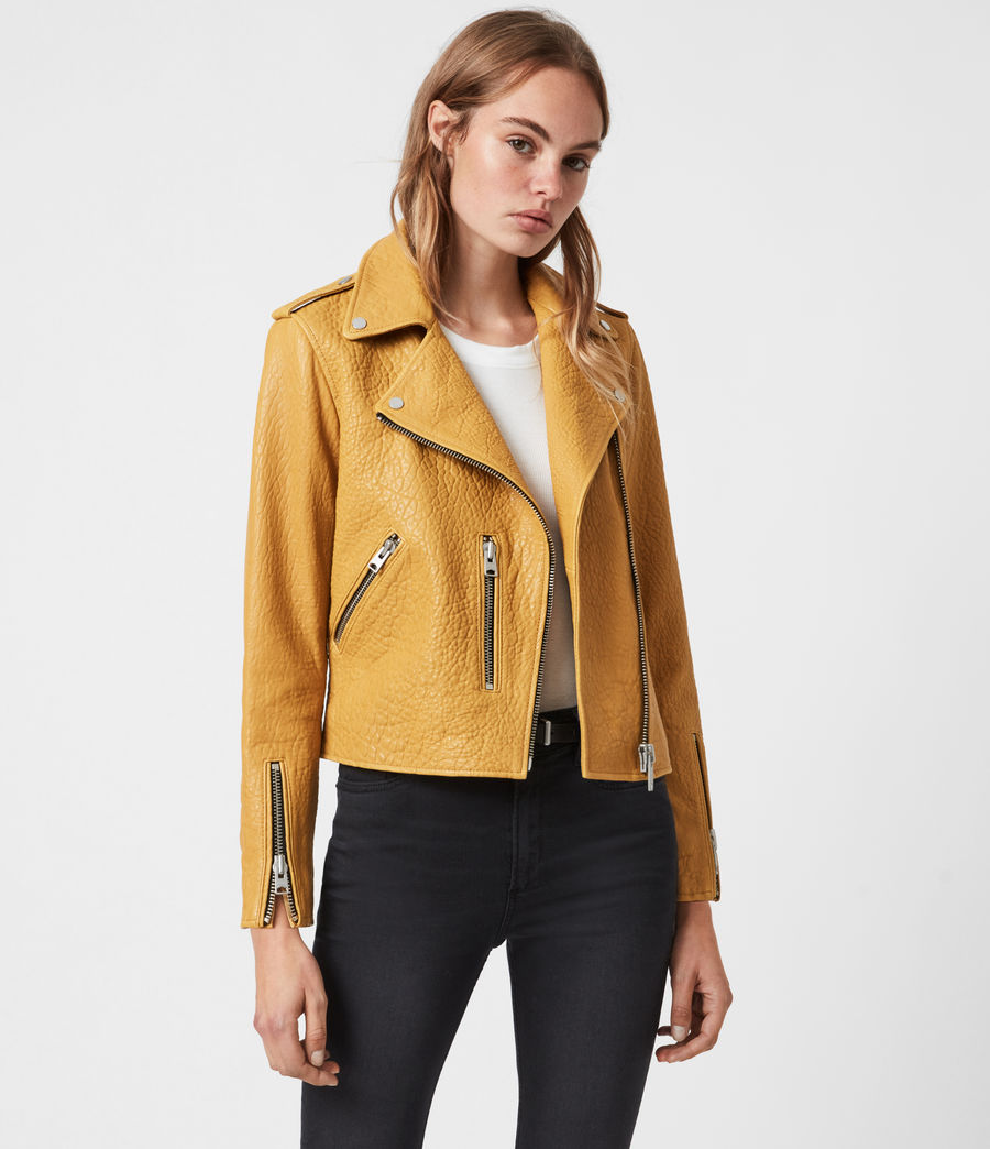 Damen Fern Bubble Bikerjacke (gilded_beige) - Image 7