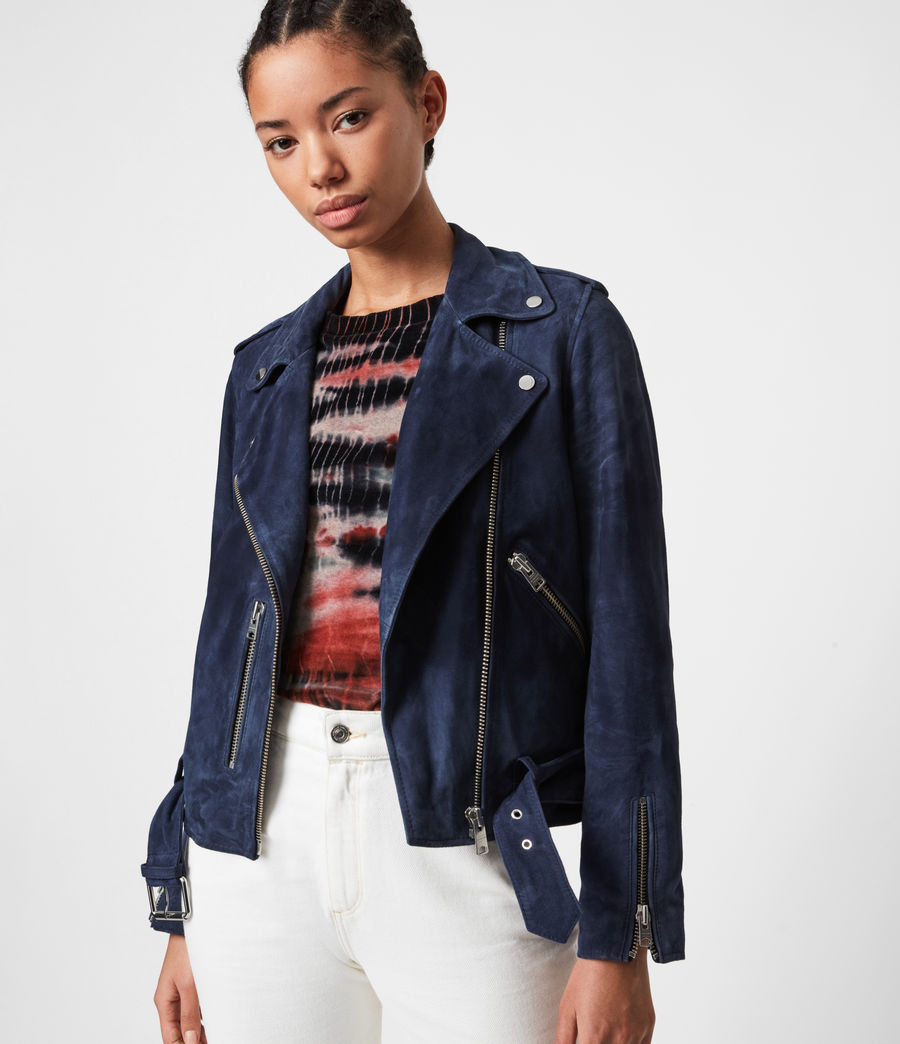 Women's Suede Balfern Biker Jacket (midnight_blue) - Image 1
