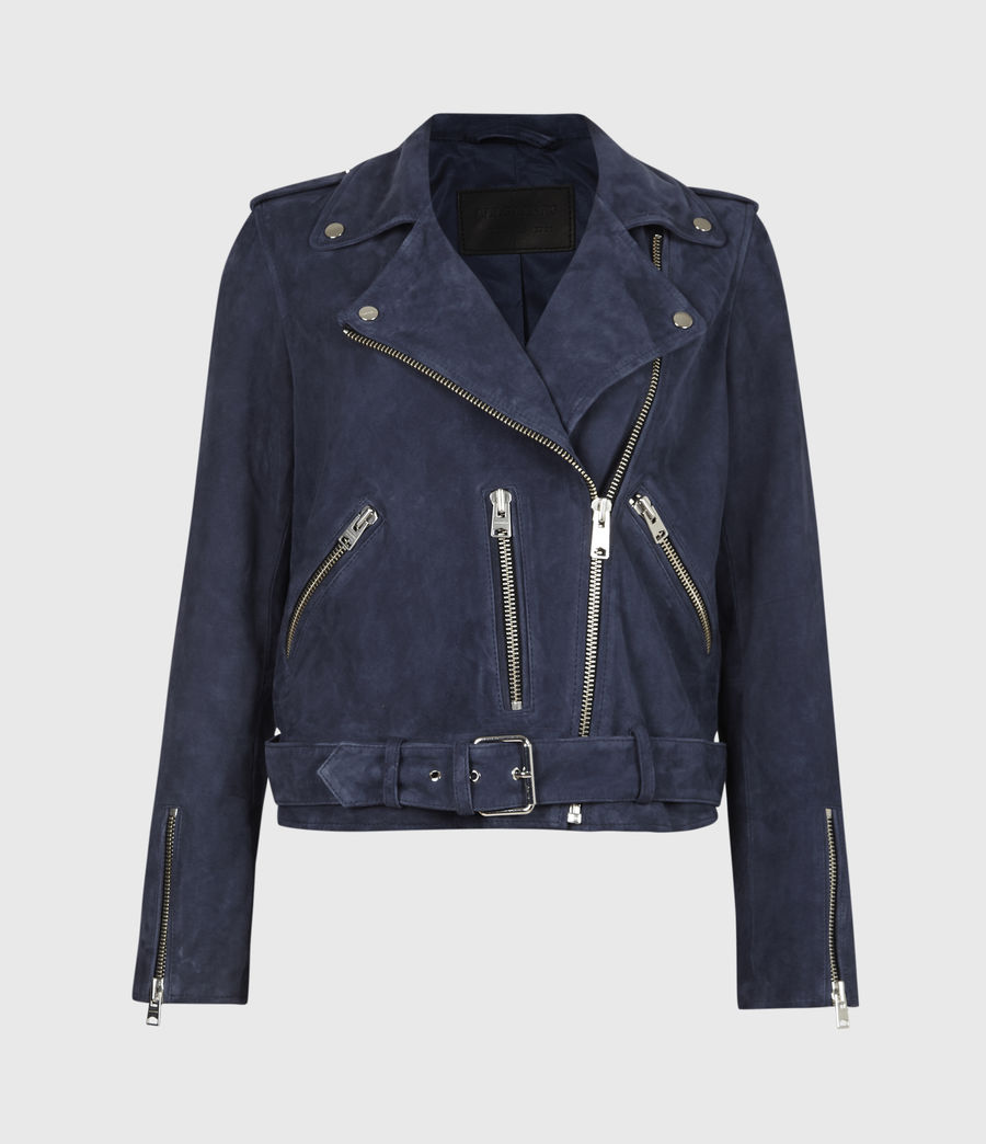 Women's Suede Balfern Biker Jacket (midnight_blue) - Image 2