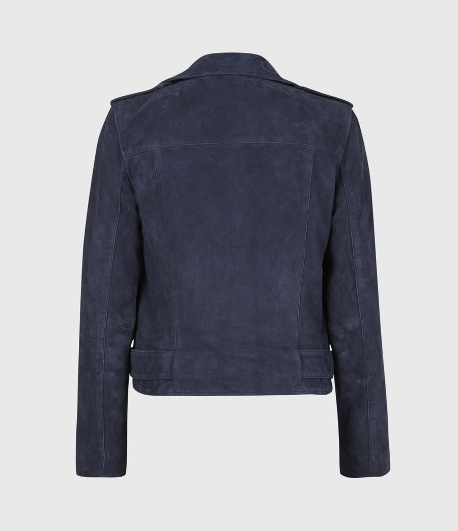Women's Suede Balfern Biker Jacket (midnight_blue) - Image 3