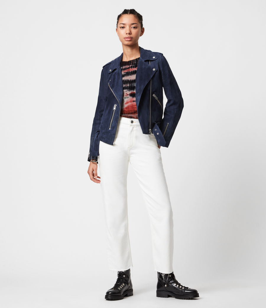 Women's Suede Balfern Biker Jacket (midnight_blue) - Image 4