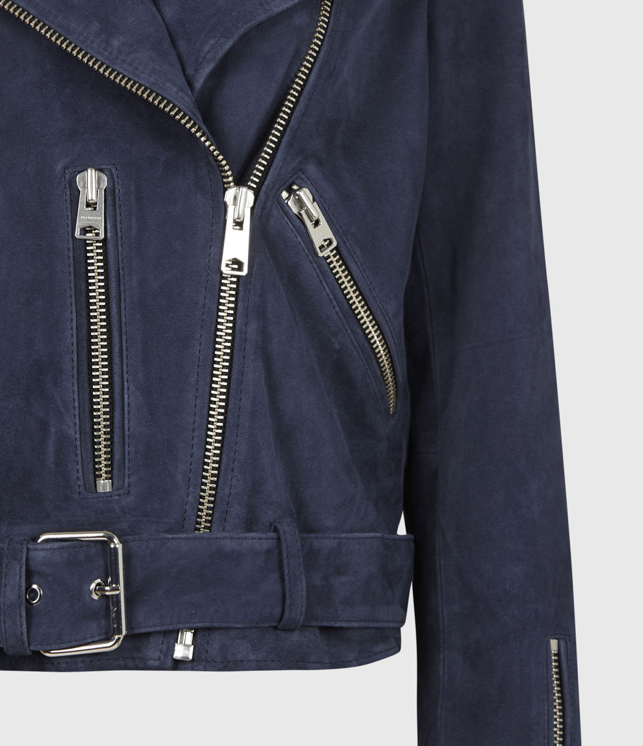 Women's Suede Balfern Biker Jacket (midnight_blue) - Image 6