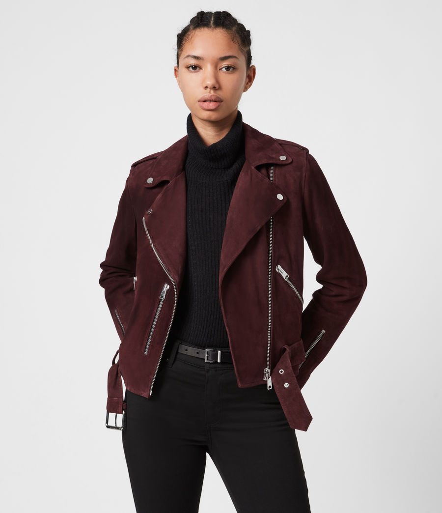 Womens Suede Balfern Biker Jacket (bordeaux_red) - Image 1
