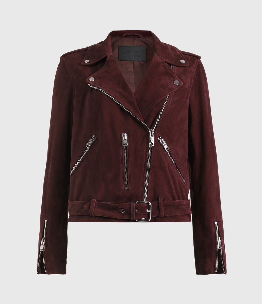 Womens Suede Balfern Biker Jacket (bordeaux_red) - Image 2