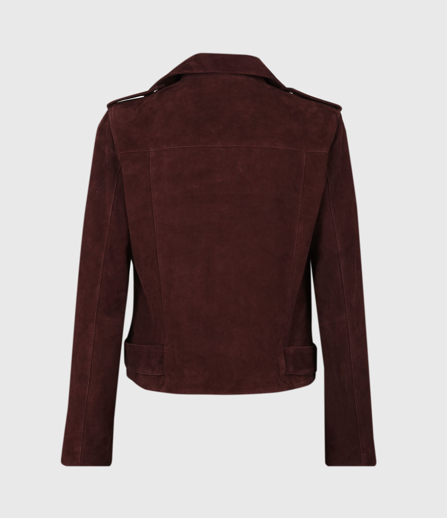 Women's Suede Balfern Biker Jacket (bordeaux_red) - Image 3