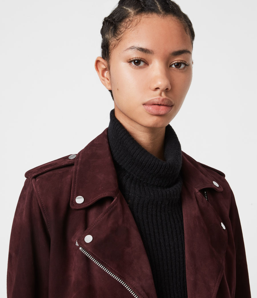 Womens Suede Balfern Biker Jacket (bordeaux_red) - Image 4