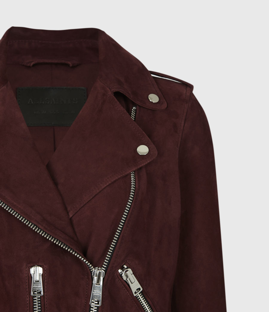 Women's Suede Balfern Biker Jacket (bordeaux_red) - Image 5