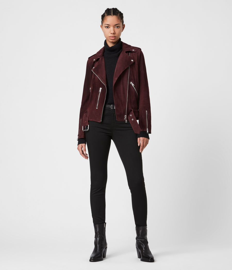 Women's Suede Balfern Biker Jacket (bordeaux_red) - Image 7
