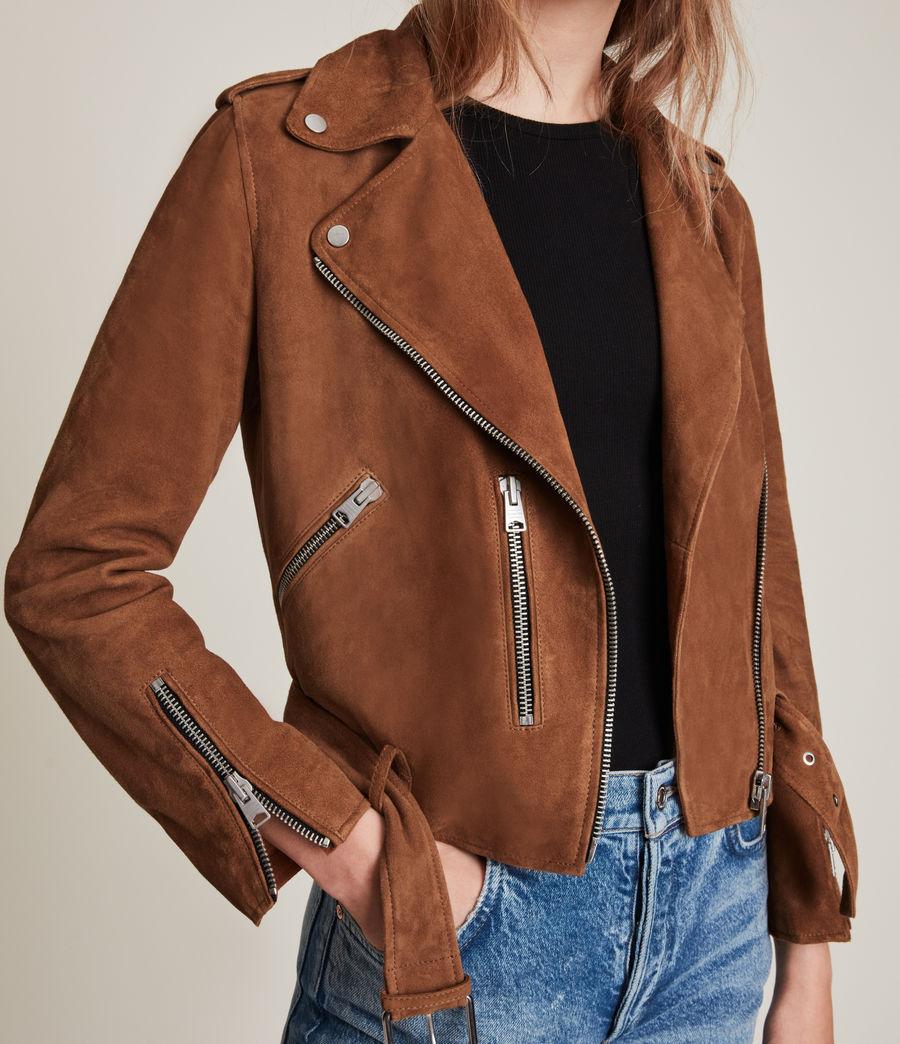 Women's Suede Balfern Biker Jacket (pale_grey) - Image 5