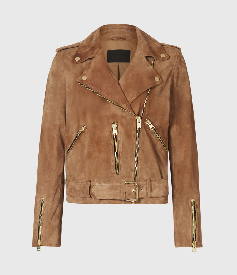 Women's Suede Balfern Biker Jacket (tan_brown) - Image 2