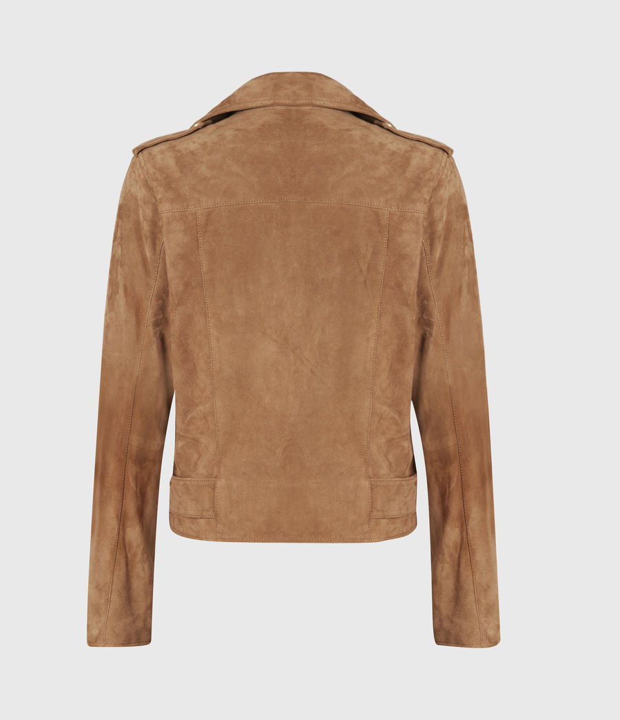 Women's Suede Balfern Biker Jacket (tan_brown) - Image 3