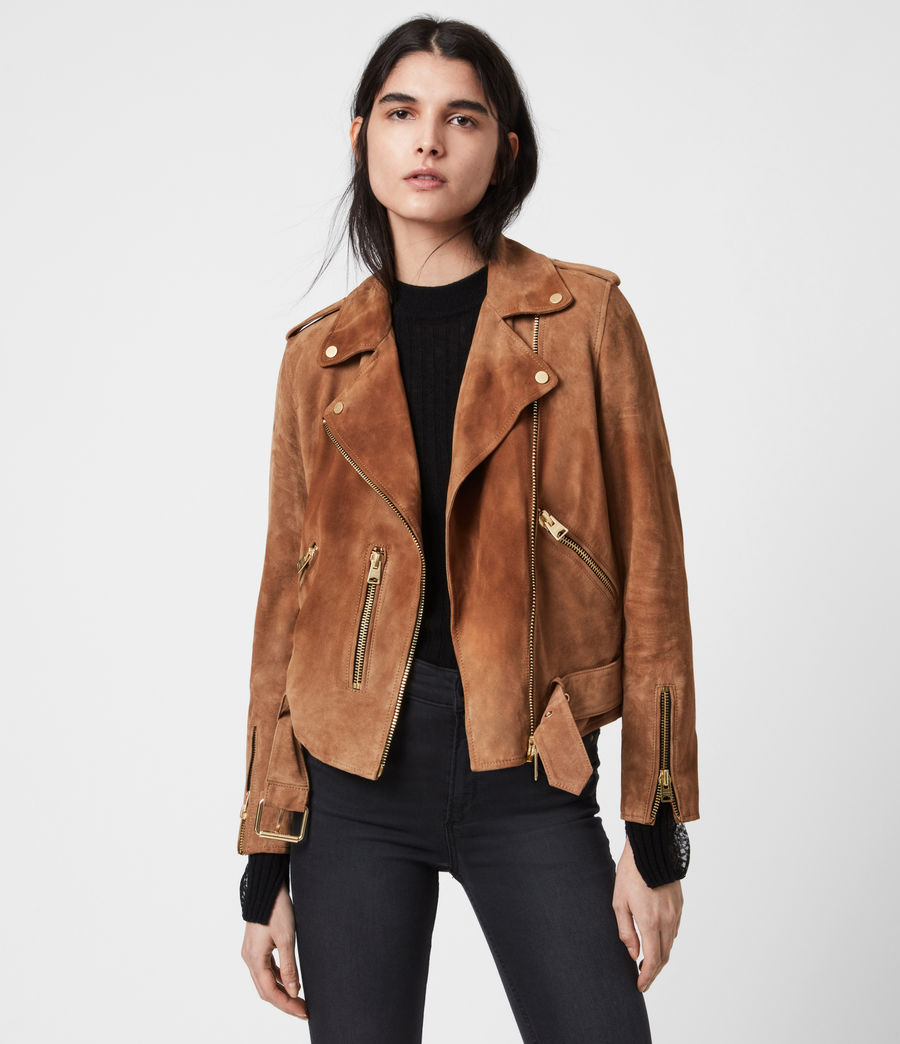 Women's Suede Balfern Biker Jacket (tan_brown) - Image 4