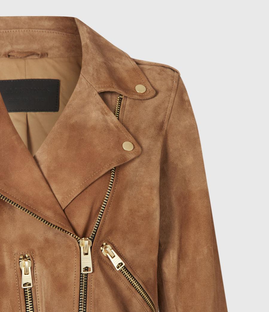 Women's Suede Balfern Biker Jacket (tan_brown) - Image 5