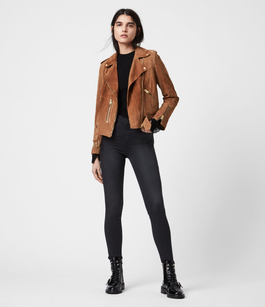Women's Suede Balfern Biker Jacket (tan_brown) - Image 7