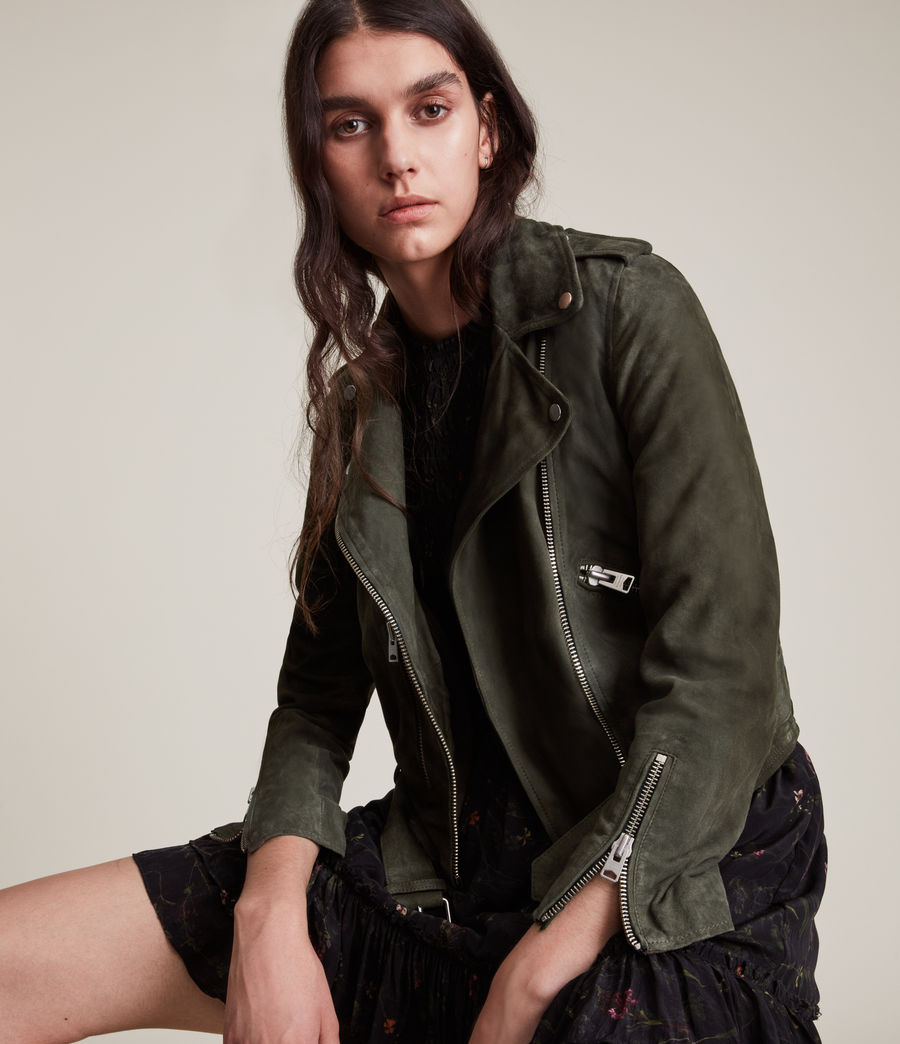 Women's Balfern Suede Biker Jacket (emerald_green) - Image 1