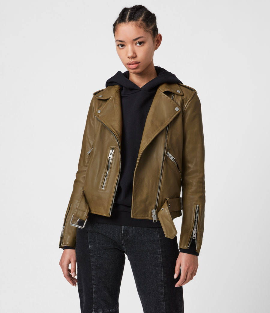 Women's Balfern Leather Biker Jacket (lime_green) - Image 1