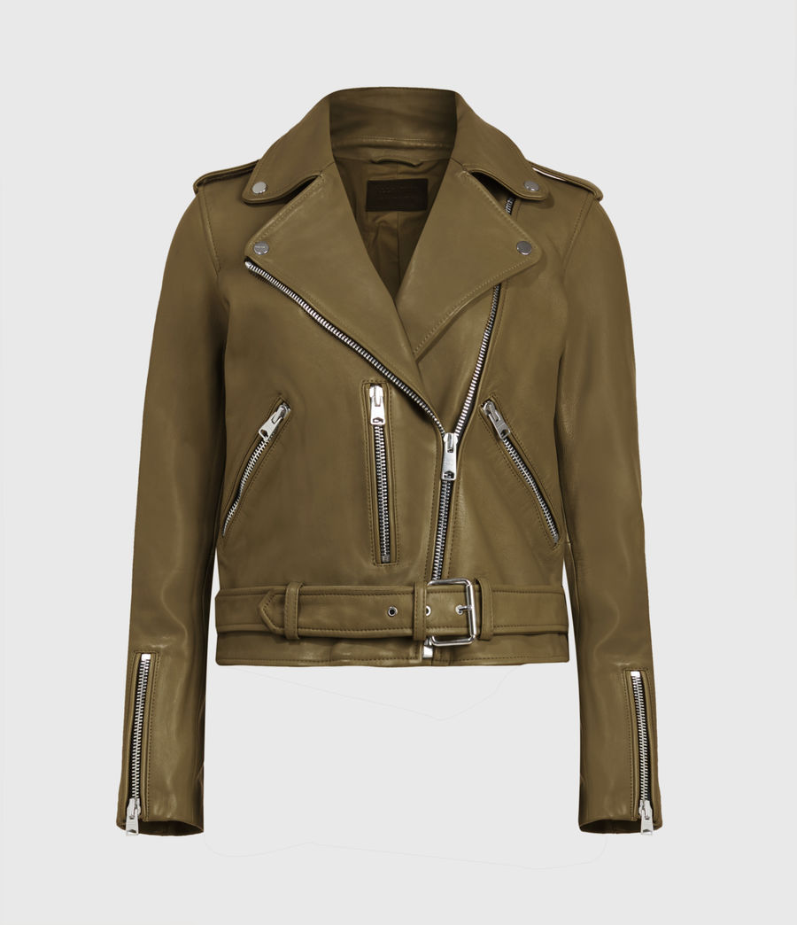 Women's Balfern Leather Biker Jacket (lime_green) - Image 2