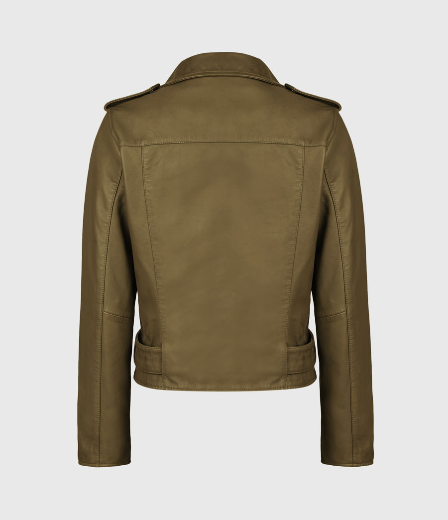 Women's Balfern Leather Biker Jacket (lime_green) - Image 3