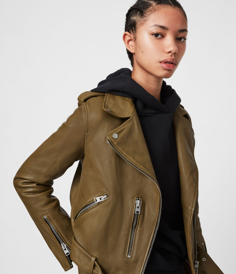 Womens Balfern Leather Biker Jacket (lime_green) - Image 4