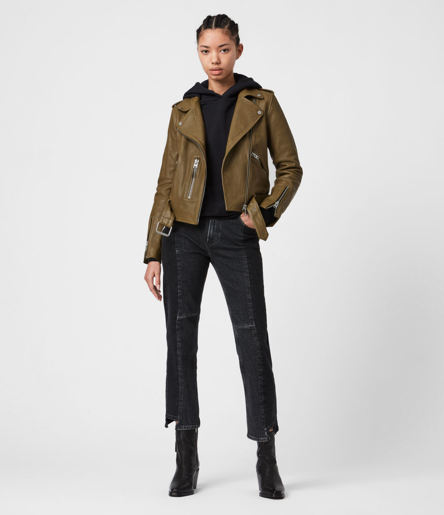 Womens Balfern Leather Biker Jacket (lime_green) - Image 7