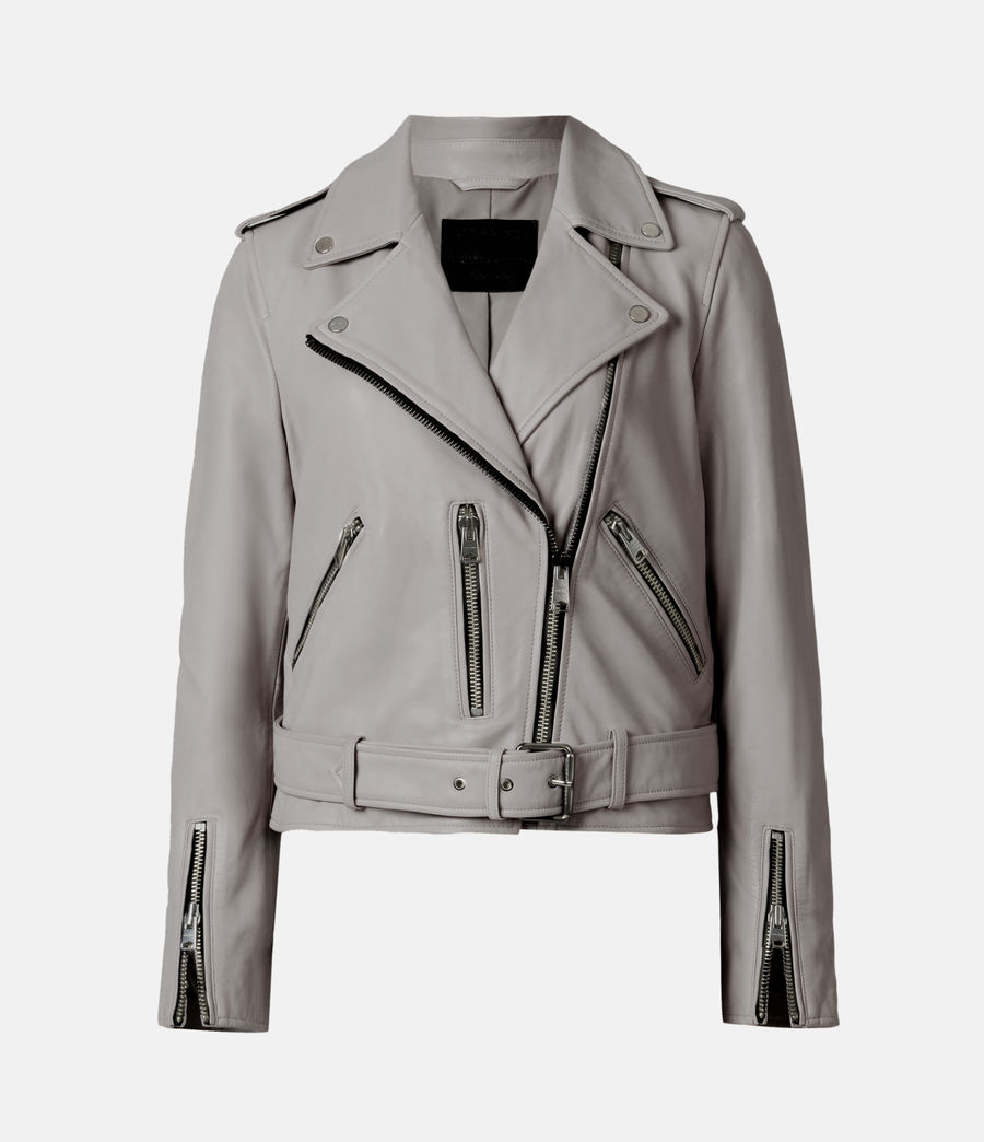 Womens Balfern Leather Biker Jacket (grey) - Image 2