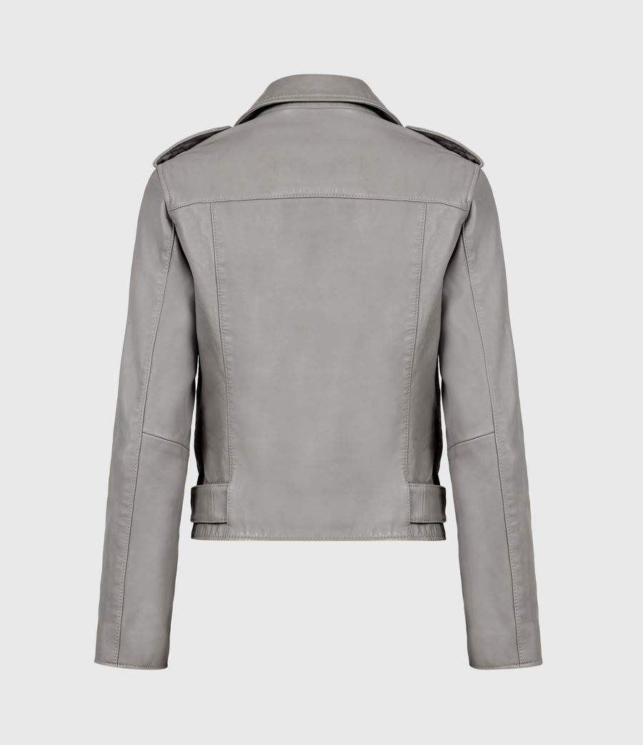 Womens Balfern Leather Biker Jacket (grey) - Image 3