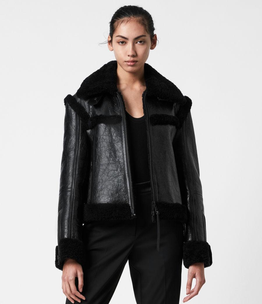 Womens Kitt Shearling Jacket (black) - Image 6