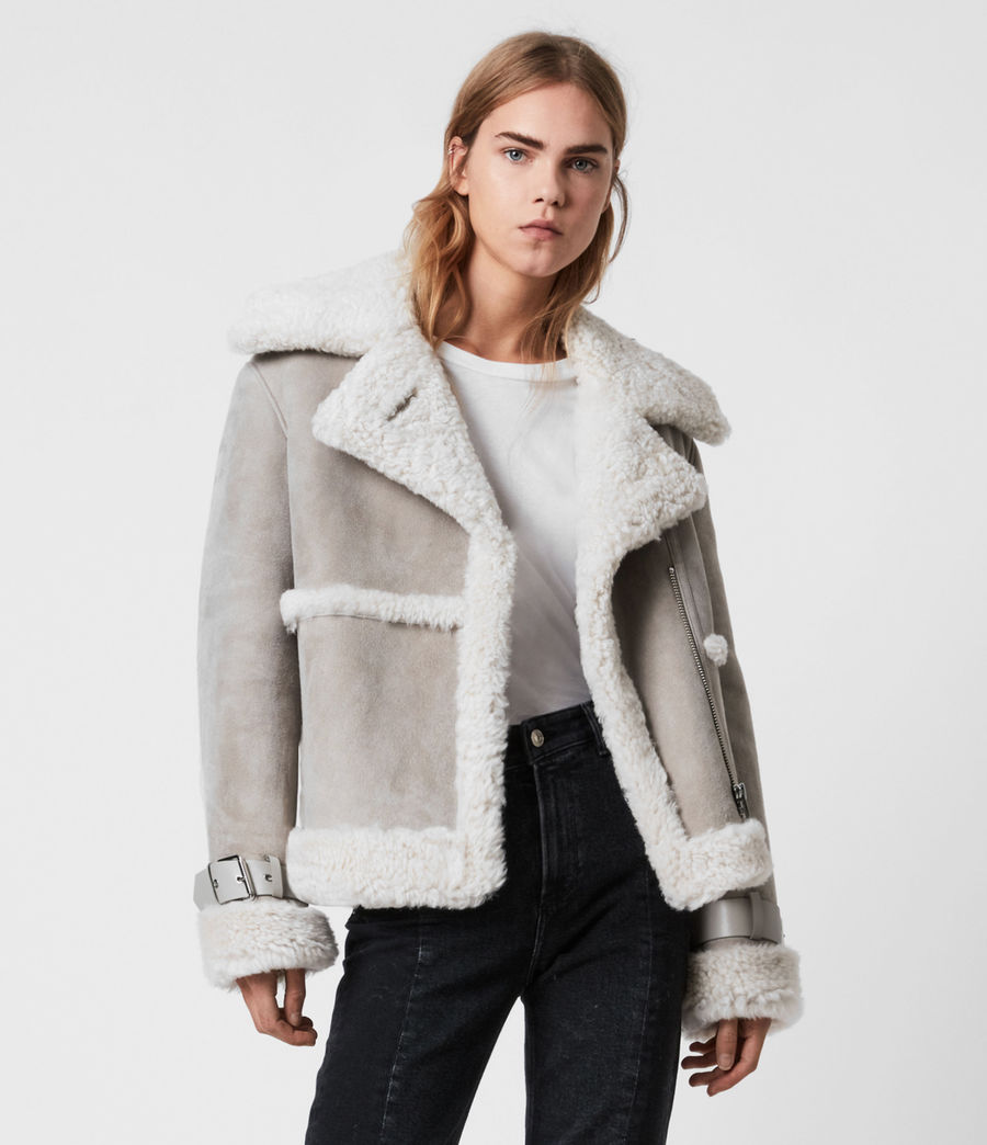 Women's Farley Shearling Jacket (ice_grey) - Image 6