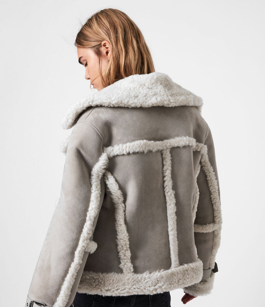 Women's Farley Shearling Jacket (ice_grey) - Image 7