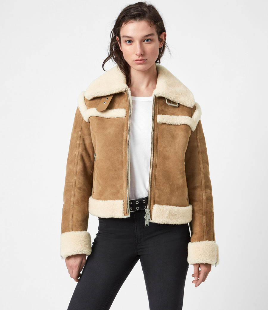Women's Kitt Shearling Jacket (sand_brown_ecru) - Image 1