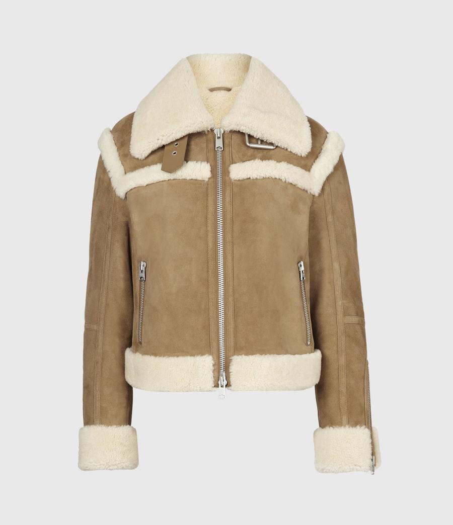 Women's Kitt Shearling Jacket (sand_brown_ecru) - Image 2