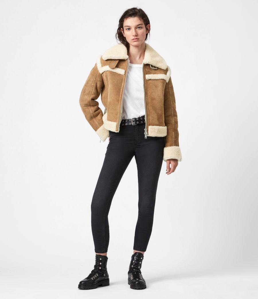 Women's Kitt Shearling Jacket (sand_brown_ecru) - Image 4