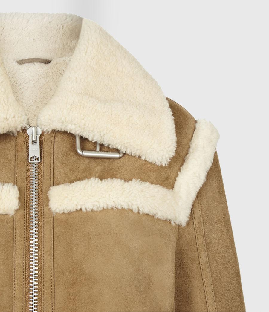 Women's Kitt Shearling Jacket (sand_brown_ecru) - Image 5