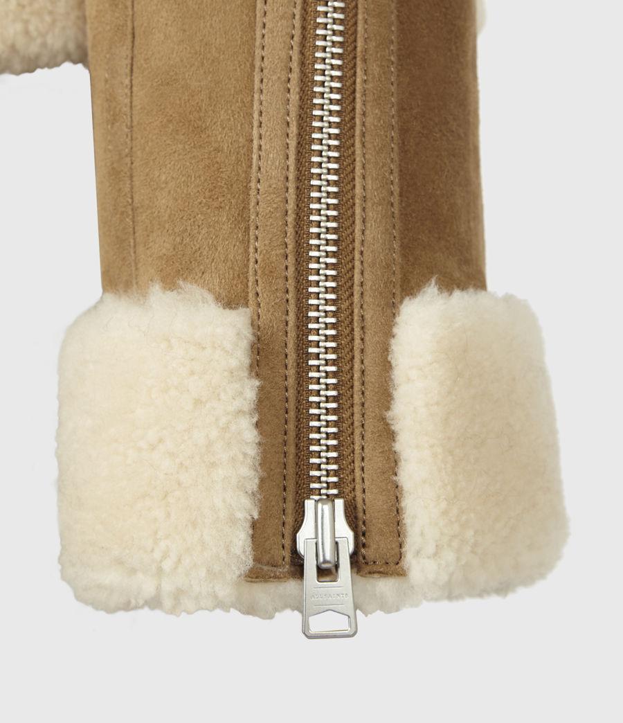 Women's Kitt Shearling Jacket (sand_brown_ecru) - Image 6