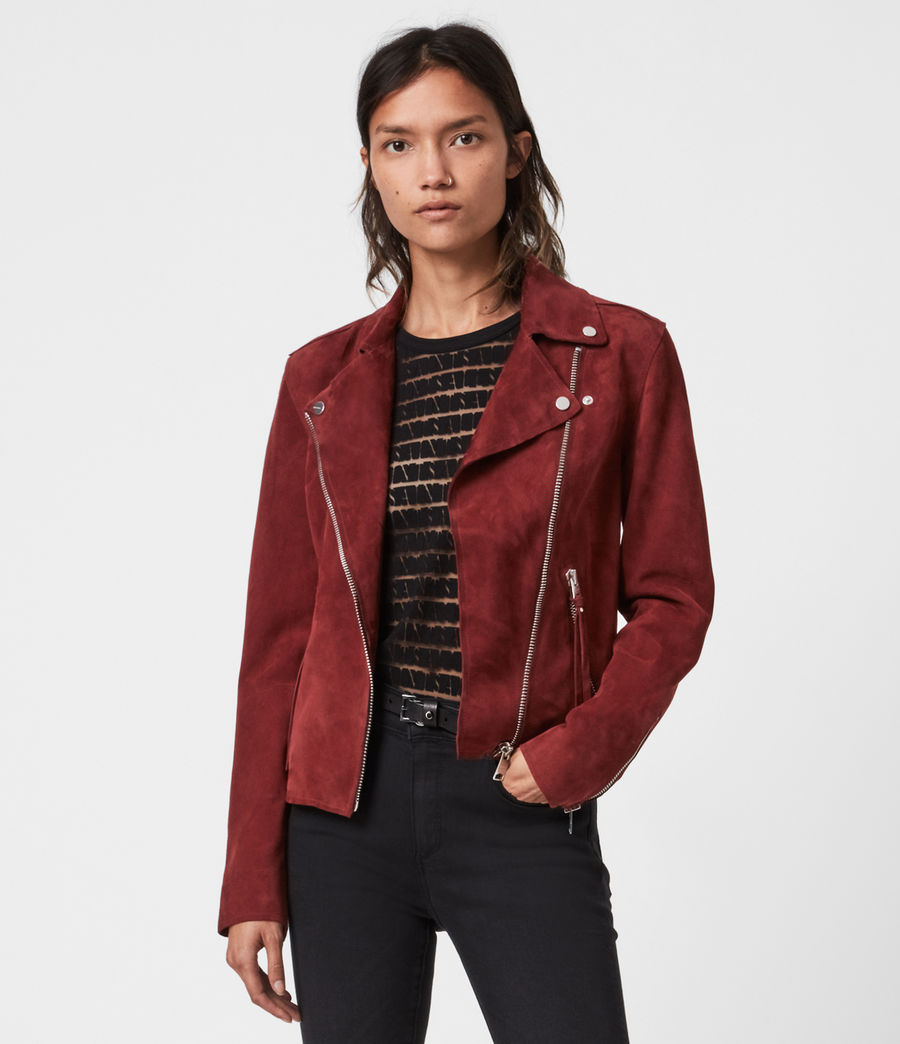 Womens Dalby Redge Suede Biker Jacket (maroon_red) - Image 1