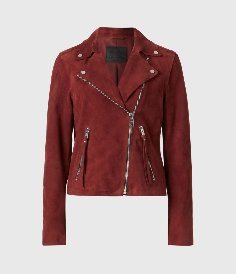 Womens Dalby Redge Suede Biker Jacket (maroon_red) - Image 2