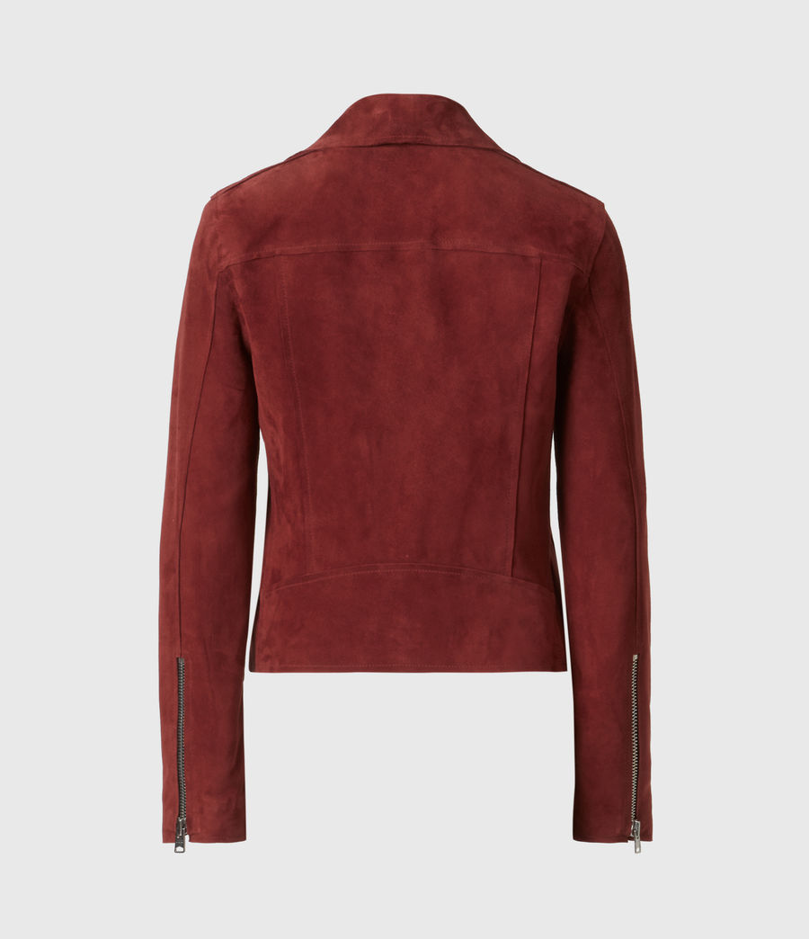 Womens Dalby Redge Suede Biker Jacket (maroon_red) - Image 3