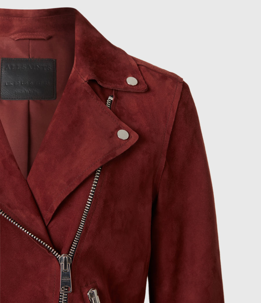 Womens Dalby Redge Suede Biker Jacket (maroon_red) - Image 5