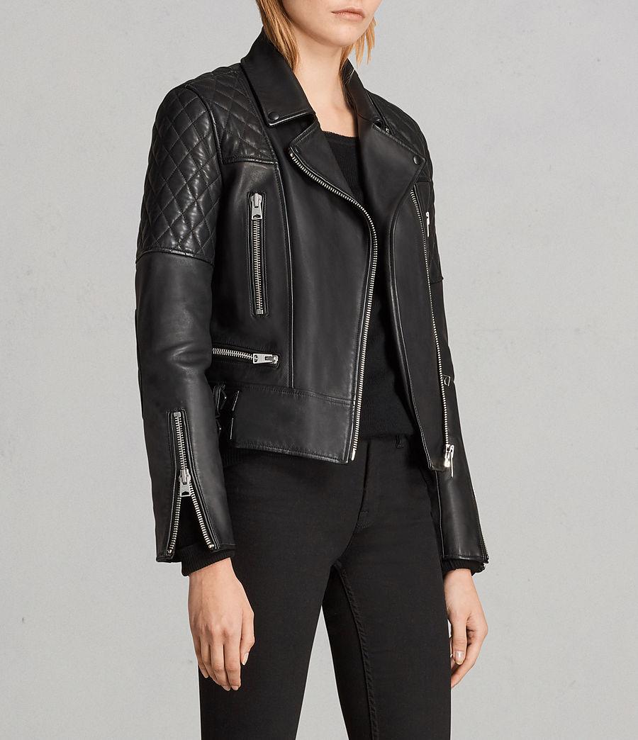 Mujer Cazadora biker de piel Esher (black) - Image 4
