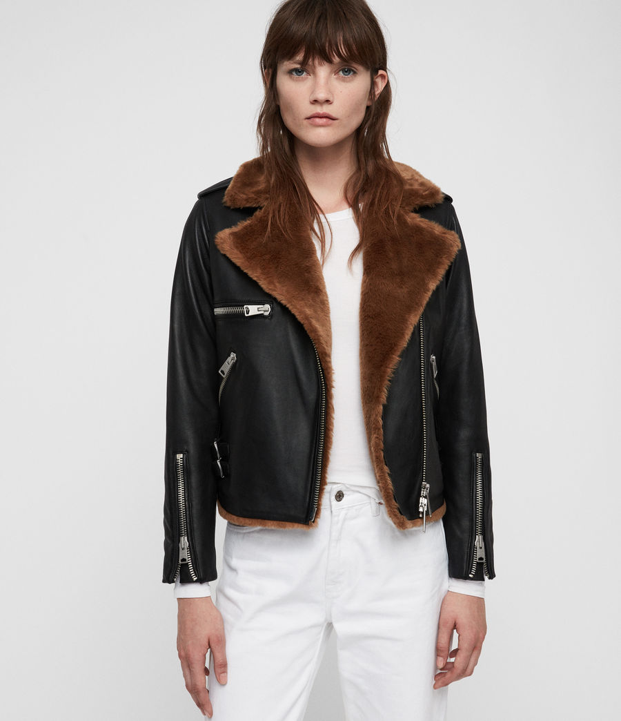 Womens Higgens Biker Jacket (black_toffee_brown) - Image 3