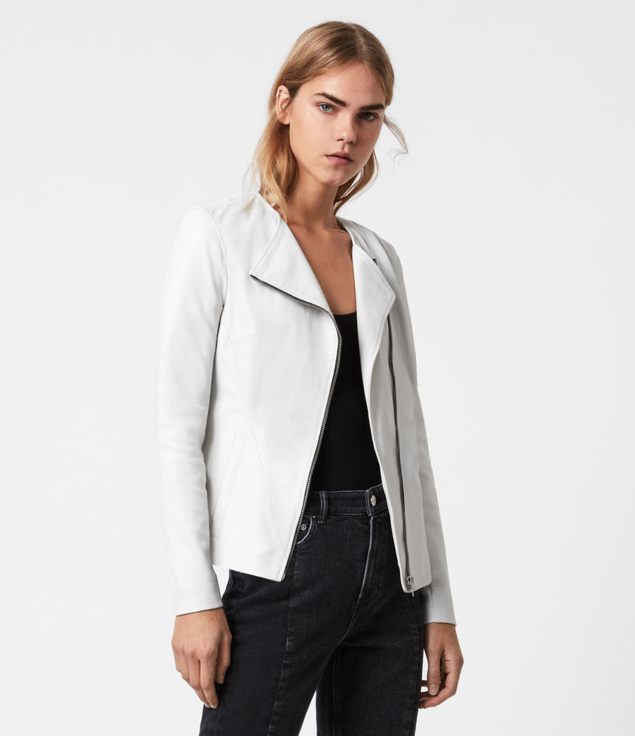 Damen Fawn Leather Biker Jacket (off_white) - Image 1