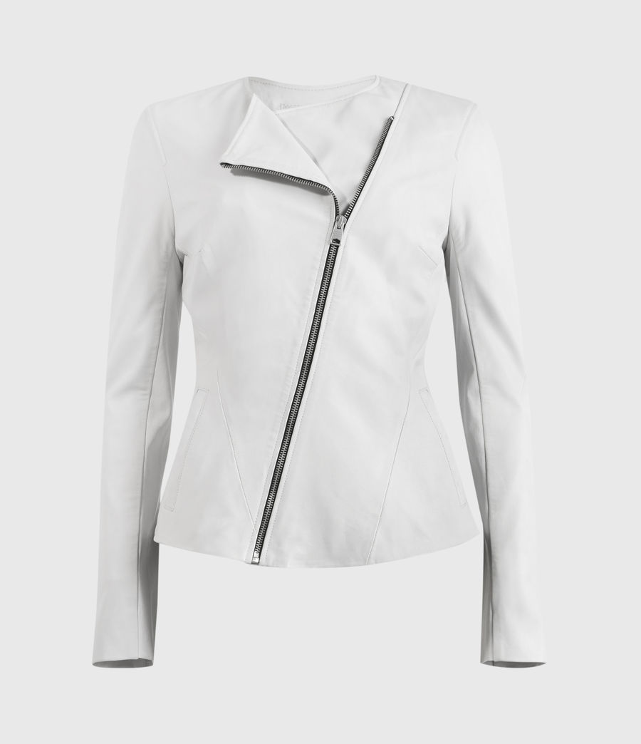 Damen Fawn Leather Biker Jacket (off_white) - Image 2