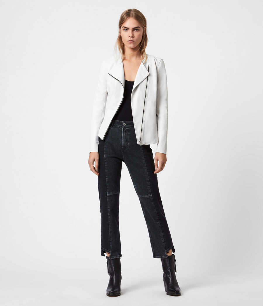 Damen Fawn Leather Biker Jacket (off_white) - Image 4